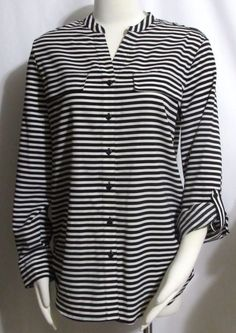 f95157f6a91 NEW Ladies Womens ELEMENTZ Black & White Stripe Silky Top Blouse M  #Elementz #Blouse #VERSATILE