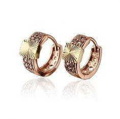 Rising Sun 18K Gold Plated Cubic Zirconia Huggie Hoop Earrings