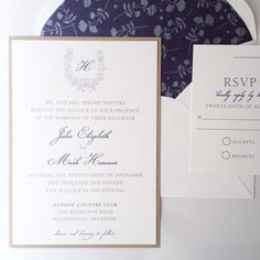 Classic Navy and Grey Wedding Invitation with Floral Lined Envelope #engravedwreath #navy #classic #floral