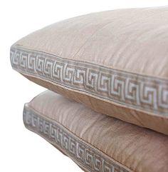 orange velvet pillow, greek key trim, ribbon down middle of pillow ...