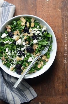 Blackberry and Toasted Walnut Kale Salad with Goat Cheese is the ...