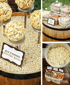 This popcorn bar would be a fabulous idea for your wedding—plus fairly inexpensive—it would be neat to put together a slideshow of both of your lives to-date & show on the side of the barn❣ It's smart to offer sweet with the salty popcorn—a great taste combination many enjoy❣ Olde Fashioned Rustic Popcorn Bar - Hostess with the Mostess®