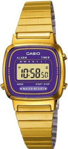 Casio – Vintage – LA670WEGA-6EF – Montre Femme – Quartz Digital – Cadran Violet – Bracelet Acier Doré