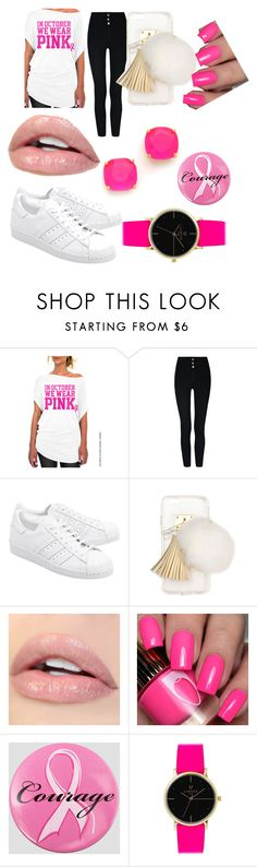 """""""This is for all the people who have Breast cancer"""" by hayisha ❤ liked on Polyvore featuring adidas Originals, Ashlyn'd, Ashley Stewart, Laruze and Kate Spade"""