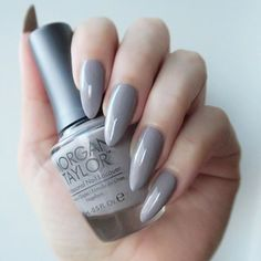 Morgan Taylor 'Rule The Runway'. Grey almond shaped nails.