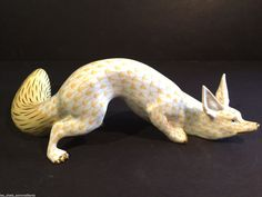 "Herend Large 11"" Sneaky Fox Porcelain Figurine Butterscotch Flawless 