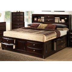 Homelegance Preston Platform Storage Bed with Bookcase Headboard . Bed Size Monterey Storage Platform Bed w/ Bookcase Headboard Prep. King Size Bedroom Sets, Wood Bedroom Sets, Bedroom Furniture Sets, Bed Furniture, Queen Bedroom, Furniture Outlet, Online Furniture, Master Bedroom, Bedroom Ideas