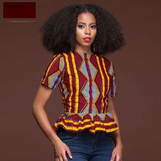 Collar:O-Neck Sleeve Length(cm):Short. Style:Indie Folk Pattern Type:Print Decoration:Ruffles Fabric Type:Woven Sleeve Style:Regular Material:Polyester Type:African Print Top Shirt,Top Tees,T-Shirt African Wear Dresses, African Attire, African Inspired Fashion, Ethnic Fashion, African Tops, Fashion Outfits, African Prints, Clothes, Beauty Supply