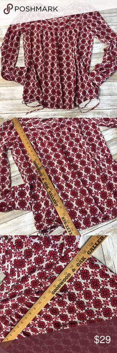 Loft white blouse  red flowers women XS new Brand new with tags LOFT Tops Blouses