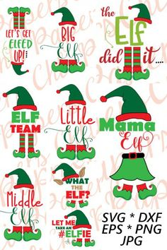 Need cute shirts for your family pictures or maybe an adorable sign? These elf cut files come in a variety of formats including svg, dxf, eps, png, and jpg. Cricut Christmas Ideas, Elf Christmas Decorations, Cute Christmas Shirts, Christmas Pjs, Christmas Quotes, Christmas Signs, Christmas Crafts, Xmas, Elf Shirt