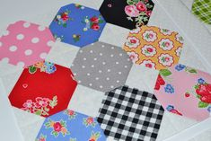 quilty fun honeycombs by grey dogwood studio. pattern by lori holt, fabric by pam kitty morning.