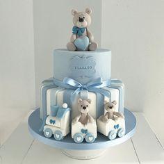 Torta Baby Shower, Baby Shower Cakes For Boys, Baby Boy Cakes, Baby Shower Garland, Baby Shower Balloons, Baby First Birthday Cake, Barbie Cake, Baby Christening, Baby Shower Gender Reveal