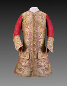 ca 1720 Waistcoat with amazingly solid embroidery on front and cuffs. The design and style of embroidery has a definite Chinese feel to it. Beautiful indeed.