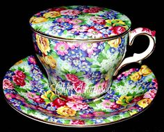 From the collection of Char Jorgenson Tea Cup With Lid, Tea Cup Set, My Cup Of Tea, Cup And Saucer Set, Tea Cup Saucer, Tea Sets, Vintage China, Vintage Tea, Teapots And Cups