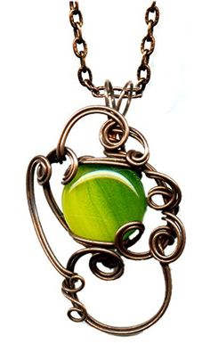 Copper and Green Sparkly Glass Wire Wrapped Pendant 18 Inches Handmade One-of-a-kind Dp550 Moon Pixie