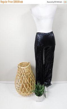 50% OFF FALL SALE Vintage 90s Black Plastic Cybergoth Festival Rave Rain Low Elastic Rise Wet Look Bell Bottom Pants Trousers Medium by WearingMeOutVtg on Etsy