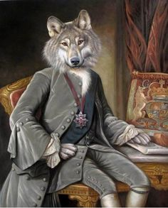 Pet Portrait by Valerie Leonard, collection 1, Count Greywolf of Transivania.