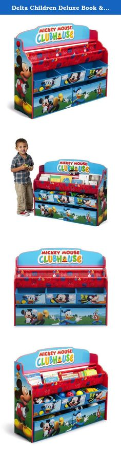 Delta Children Deluxe Book & Toy Organizer, Disney Mickey Mouse. Make your little one's bedroom or play space extra-special with a little help from Mickey! Boasting colorful graphics of Mickey and friends, this Mickey Deluxe Book & Toy Organizer from Delta Children features fabric bins and a two-tiered bookrack supported by a sturdy wood frame.