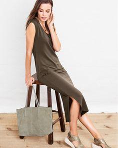 Cap-Sleeve Knit Midi Dress