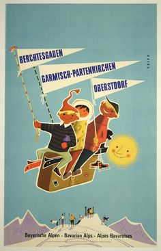 vintage alps travel poster