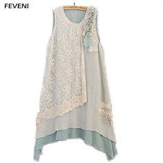 Слои цветочные лоскутное irrugular Кружево платье Для женщин без Рукавов Сладкий сарафан Loose Tank богемный платье миди y03532