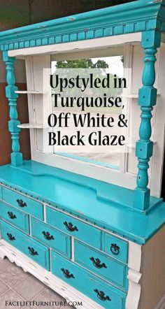 Dresser and Mirror Hutch in distressed Turquoise and Off White, with Black Glaze accenting detailed areas. From Facelift Furniture. White Dresser With Mirror, Red Dresser, White Furniture, Painted Furniture, Diy Furniture, Refinished Furniture, Urban Furniture, Luxury Furniture, Hutch Makeover