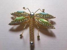 Vintage Hobe Jewelled Golden Dragonfly Brooch $109.99.. a work of art!