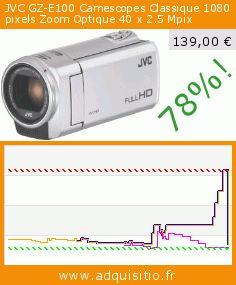 JVC GZ-E100 Camescopes Classique 1080 pixels Zoom Optique 40 x 2.5 Mpix (Appareils électroniques). Réduction de 78%! Prix actuel 139,00 €, l'ancien prix était de 631,60 €. http://www.adquisitio.fr/jvc/gz-e100-camescopes