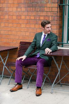 purple and green suit