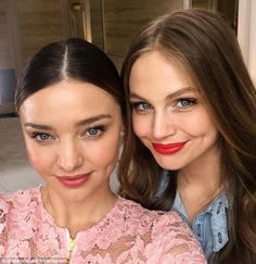 'Twins': Australian E! host Ksenija Lukich (R) and supermodel Miranda Kerr (L) posed up for a stunning selfie together on Monday with fans commenting how much they look alike