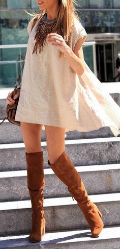 Swing dress + boots.