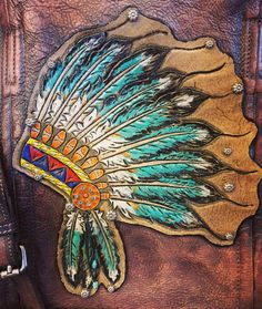 Tooled leather Indian headdress by ArteVae.