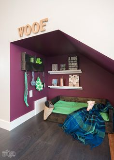 DIY Under Stairs Dog Nook. Turn an under-stairs nook into any dogs dream space complete with a handmade rustic bed and organizer. Under Stairs Dog House, Under Stairs Nook, Animal Room, Dog Nook, Dog Bedroom, Master Bedroom, Puppy Room, Dog Corner, Dog Spaces