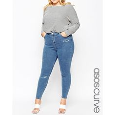 ASOS CURVE Ridley Ankle Grazer Jean in Cypress Midwash with Rip and... ($24) ❤ liked on Polyvore featuring jeans, blue, plus size, white ripped jeans, white ripped skinny jeans, plus size high waisted jeans, high-waisted skinny jeans and high waisted ripped skinny jeans
