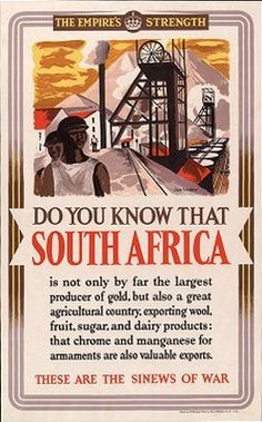 British WWII poster offering information on colonial Allies. This poster offers facts about South Africa.