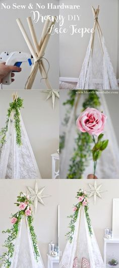 Lace Teepee DIY the dreamiest lace DIY teepee you can make with no sewing and no hardware!the dreamiest lace DIY teepee you can make with no sewing and no hardware! Diy Tipi, Diy Kids Teepee, Diy Teepee Tent, Diy Lace Teepee, No Sew Teepee, Teepee Camping, Baby Teepee, Girls Teepee, Boho Baby Shower