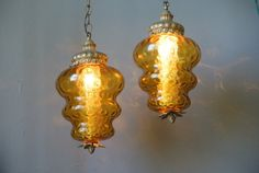 Vintage Pair of Amber Glass Hanging Pendant by pepeandcarols, $99.99