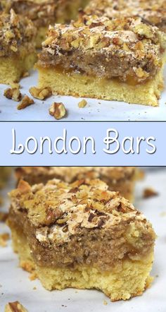 London Bars - soft, moist, delicious bars with lemon tasting cake-like base paired with apricot jam, walnut meringue and crunchy walnuts on top. These bars taste amazing!