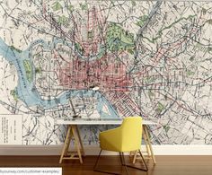 Paris map wall mural vinly wall mural vintage old by 4kdesignwall city map wallpaper street wall mural philadephia by 4kdesignwall gumiabroncs Gallery