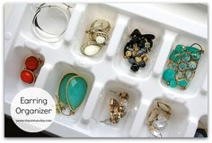 Use an ice cube tray for an earring holder… this tucks into a drawer really easily as well…