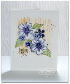 thinking of you card by Ceal Pritchett... using SU stamps Flower shop & Petite Petals