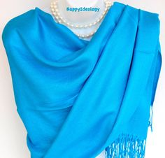 Blue Pashmina Scarf.Blue Teal by HappyIdeology on Etsy