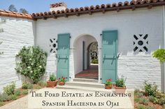 Paul Williams' Majestic Andalusian-Hacienda Style Ford Estate - Love the accent blue! Spanish Revival Home, Spanish Colonial Homes, Spanish Bungalow, Spanish Style Homes, Spanish House, Boho Glam Home, Exterior Paint, Exterior Design, Spanish Exterior