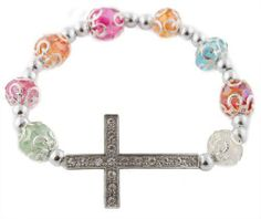 2 Pieces of Silver with Multi Iced Out Sideways Cross Ornamental Style Beaded Stretch Bracelet JOTW. $0.05. This price is for TWO bracelets!. Great Quality Jewelry!. 100% Satisfaction Guaranteed!