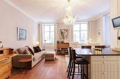 Small apartments (under 40 sq m) - white and neutral colour scheme
