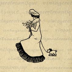 Printable Graphic Lady Walking Little Dog Digital Woman Image Download Vintage Clip Art. High resolution digital graphic clip art from vintage artwork. This high quality printable digital image download works well for making prints, transfers, tote bags, pillows, and other great uses. This graphic is high quality and high resolution at size 8½ x 11 inches. Transparent background version included with every digital image.