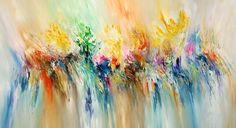 """abstract painting """" Lively Color Dancing L1"""" by P. Nottrott. Color-loving, positive original in lively movement, vibrant and expressive. A very vibrant and friendly painting in large format with great movements in the colors."""