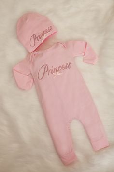 1b86e42e0ef6 Infant Baby Girl Layette Romper Set Cotton Baby Girl Romper with Princess  in Hot Pink Rhinestones