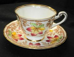 ROYAL CHELSEA IVY MAPLE AUTUMN LEAF GOLD TEA CUP AND SAUCER