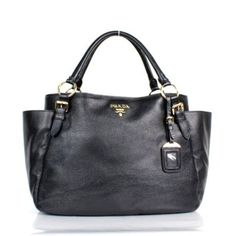 abc64d84fcb0 £141.00 Official Pradabags-Prada 8206tote Bag Black Grained Calf Leather  Sale Uk Black Tote